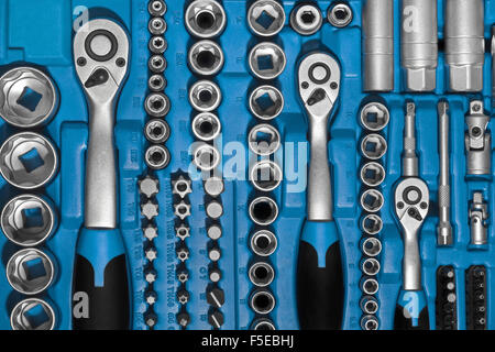 toolbox set closeup tools kit - Stock Photo