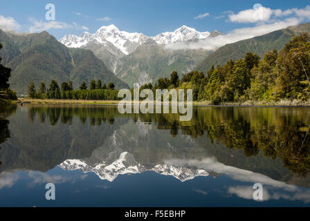 Southern Alps from Lake Matheson, Fox Glacier village, Westland, South Island, New Zealand, Pacific