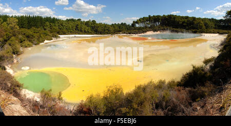 Champagne Pool, in Waiotapu geothermal area, Rotorua, North Island, New Zealand, Pacific - Stock Photo