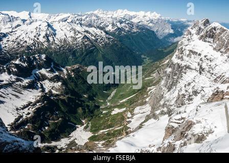 Wendental, seen from Titlis, above Engelberg, Unterwald, Switzerland, Europe - Stock Photo