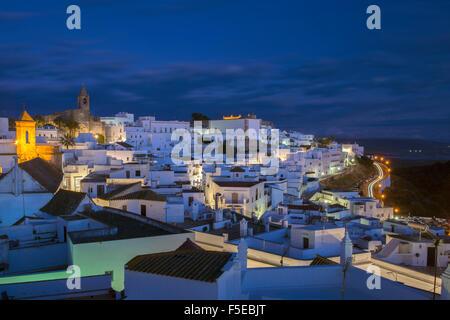 Evening rooftop views of the whitewashed village (Pueblos blanca) of Vejer de la Frontera, Cadiz province, Andalucia, - Stock Photo