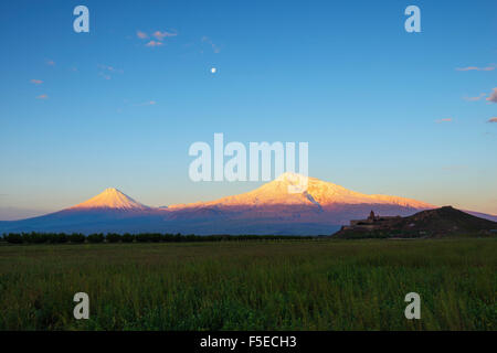 Khor Virap Monastery, and Mount Ararat, 5137m, highest mountain in Turkey photographed in Armenia, Caucasus, Central - Stock Photo