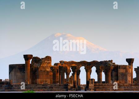 Zvartnots archaeological ruin, UNESCO World Heritage Site, Mount Ararat in Turkey behind, Armenia, Caucasus, Central - Stock Photo