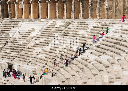 The second century Roman theatre, built by Emperor Marcus Aurelius, Aspendos, Pamphylia, Anatolia, Turkey, Asia, - Stock Photo