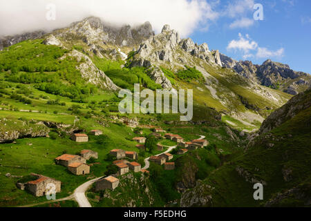 Old farmhouses near Sotres, Picos de Europa, Parque Nacional de los Picos de Europa, Asturias, Cantabria, Spain, - Stock Photo