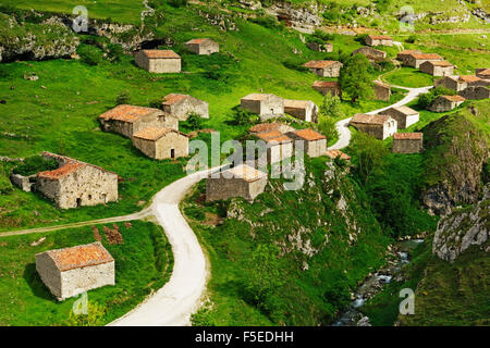 Old farmhouses near Sotres, Picos de Europa, Parque Nacional de los Picos de Europa, Asturias, Cantabria, Spain, - Stock Photo