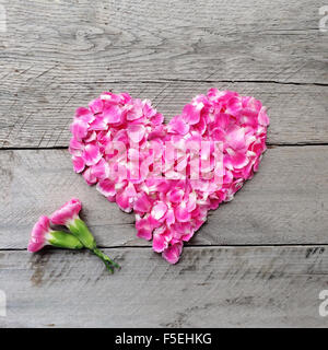 Pink floral heart made from carnation flowers - Stock Photo