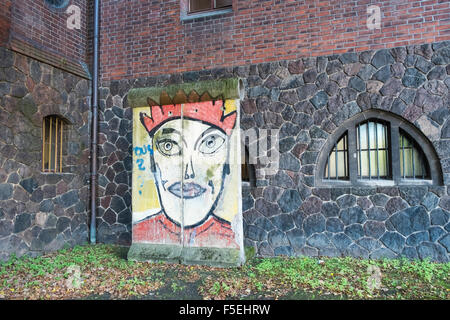 Section of the original Berlin Wall on display outside the Märkisches (Marcher) Museum, Mitte, Berlin, Germany, - Stock Photo