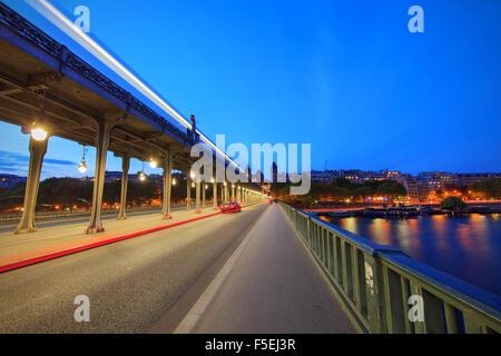 Blue Hour on Bir-Hakeim Bridge, Paris, France - Stock Photo