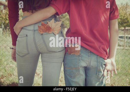 Rear view of a couple walking with their arms around each other - Stock Photo