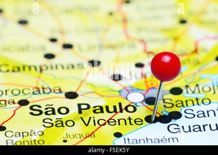 Sao Vicente pinned on a map of Brazil - Stock Photo