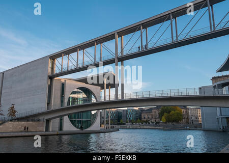 Modernist architecture of the Chancellery building located near River Spree, Berlin, Germany - Stock Photo