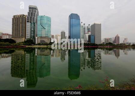 Bangkok Skyline from Benjakitti Park - Stock Photo
