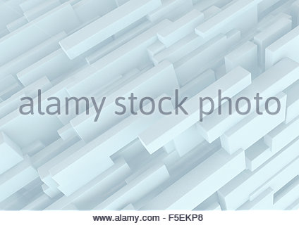 Abstract three dimensional structure of white cuboids - Stock Photo