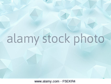 Abstract three dimensional geometric shapes on low poly surface - Stock Photo