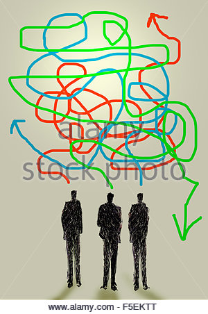 Three businessmen talking with confused tangled arrows - Stock Photo