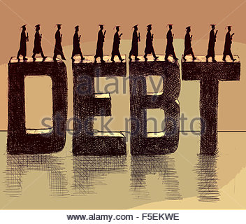 Graduate students walking across the word 'debt' - Stock Photo