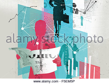 Collage of business people, graphs, data and connections - Stock Photo