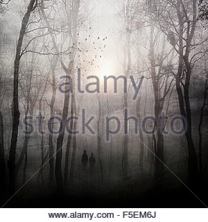 Two people walking through dark spooky forest - Stock Photo