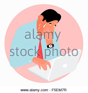 Worried man sweating working on laptop computer - Stock Photo