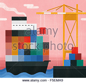 Crane unloading cargo from container ship at dock - Stock Photo