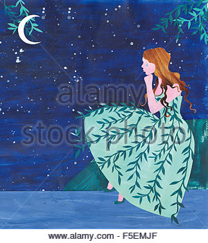 Sad young women crying at night wearing weeping willow pattern dress - Stock Photo