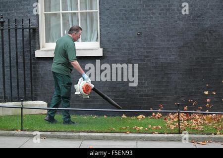 London, UK, 3rd Nov 2015: Gardner clearing leaves away in Downing Street in London - Stock Photo