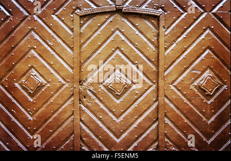 Retro filtered picture of old wooden gate. Photo in old color image style. - Stock Photo