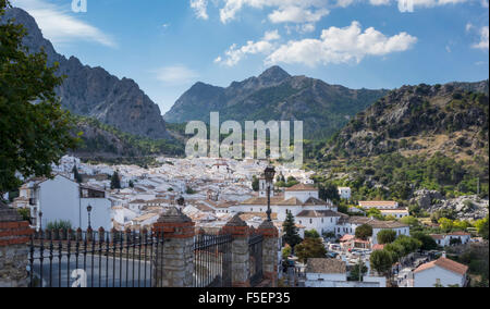 Grazalema in Cadiz, Andalucia, Spain - white painted houses in a mountain valley in the Sierra de Grazalema Natural - Stock Photo