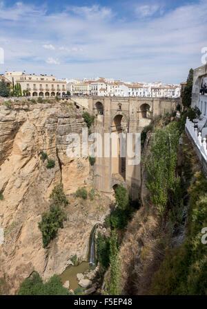 Puente Nuevo bridge over El Tajo gorge at Ronda, Andalucia, Spain - Stock Photo