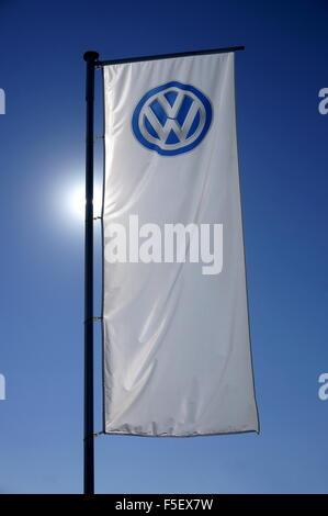 The Volkswagen Logo in Wolfsburg, Germany, 01 October 2015. Photo: S. Steinach - NO WIRE SERVICE - - Stock Photo