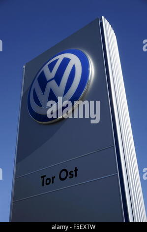 The Volkswagen Logo with the title 'Tor Ost' in front of the Volkswagen Factory in Wolfsburg, Germany, 01 October - Stock Photo