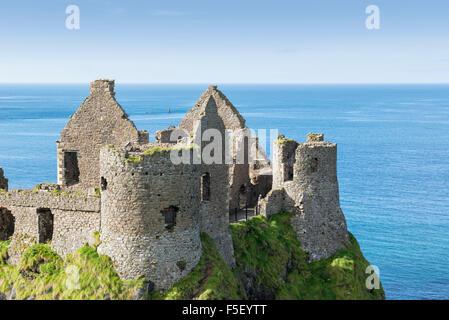 Dunluce Castle, Atlantic Coast, County Antrim, Northern Ireland - Stock Photo