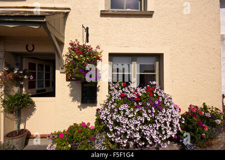 Window Boxes and Hanging Basket Filled With brightly Coloured Flowers On A House in Polperro Cornwall UK - Stock Photo