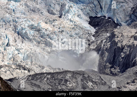 Melting point at Franz Josef Glacier, Franz Josef, South Island, New Zealand - Stock Photo