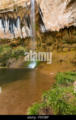A hiker admiring Upper Calf Creek Falls, Grand Staircase-Escalante National Monument, Utah - Stock Photo