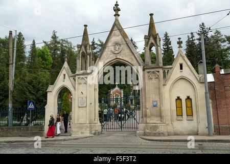 Lviv, Ukraine, the main gate to Lychakiv Cemetery - Stock Photo
