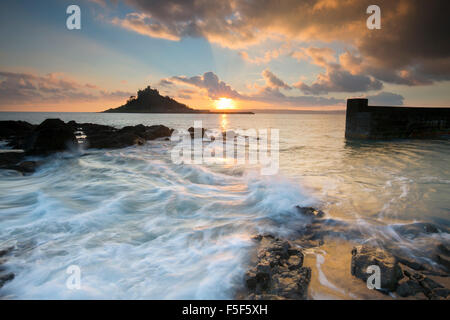 St Michael's Mount; Mount from Marazion at Sunset Cornwall; UK - Stock Photo