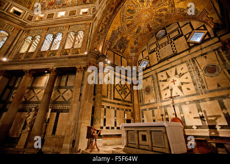 Altar in the Baptistry of the Duomo, central cathedral of Florence, Italy,Baptistery interior Florence, Italy - Stock Photo