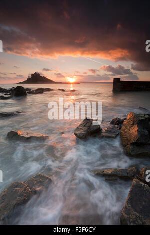 St Michael's Mount; From Marazion Cornwall; UK - Stock Photo