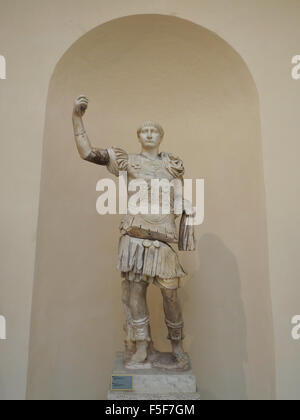 Life size statue of Roman emperor Trajan (53-117 AD) on display in the Ostia Antica museum, near Rome, Italy - Stock Photo
