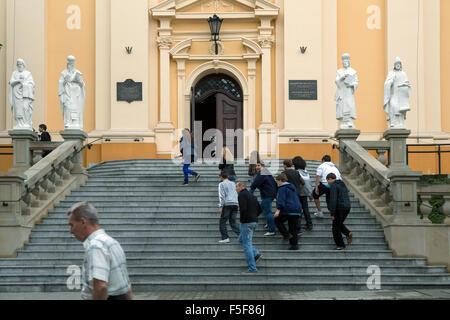 Przemysl, Poland, sculptures in front of the Greek Catholic Church of Przemysl - Stock Photo