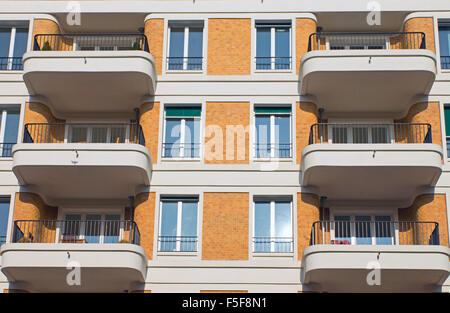 Facade with rounded balconies in Berlin-Prenzlauer Berg - Stock Photo
