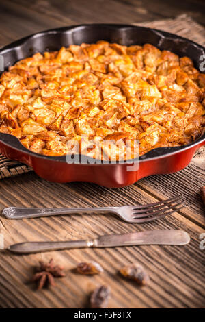 Homemade apple pie dessert in metal cake pan - Stock Photo