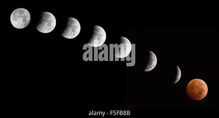 The sequence the moon during the lunar eclipse on October, 8, 2014. - Stock Photo