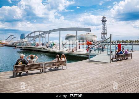 Spain, Catatonia, Barcelona, Port Vell, Rambla del Mar, - Stock Photo