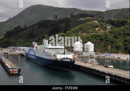 Ferry terminal, Picton, Queen Charlotte Sound, Marlborough region, South Island, New Zealand - Stock Photo