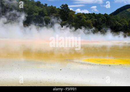 Waiotapu colorful thermal lake, Waiotapu Thermal Wonderland, Rotorua, North Island, New Zealand - Stock Photo