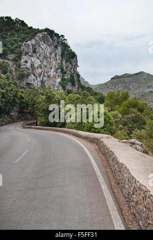 Mountain road, rocks and green forest landscape on a sunny summer day in Mallorca, Balearic islands, Spain. - Stock Photo