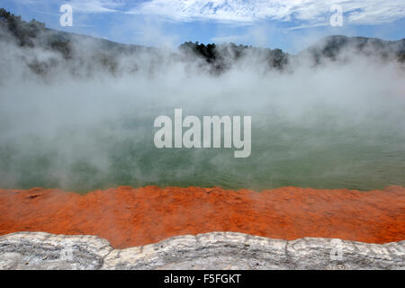 Champagne pool, Waiotapu Thermal Wonderland, Rotorua, North Island, New Zealand - Stock Photo